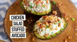 CHICKEN SALAD STUFFED AVOCADO with DEAN'S DIP