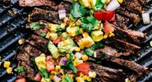 Grilled Garlic Herb Flank Steak with Avocado Corn Salsa