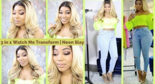 3 in 1 Neon Slay GRWM Glitter Smokey Eye, Blonde Bombshell Hair, Neon Outfit