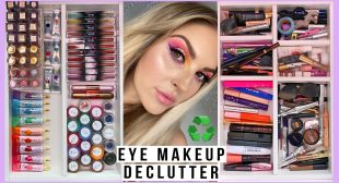 HUGE makeup declutter ♻️ eyeliners, mascaras, brows, liquid eyeshadows & more!