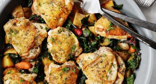 Skillet Chicken Thighs with Potatoes, Carrots, and Greens