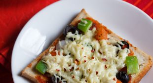 Bread Pizza – 2 Ways (On a Skillet or Tawa & In an Oven)