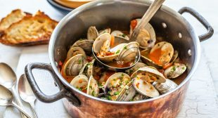 Brothy Clams with Chorizo, Tomatoes, and Grilled Bread