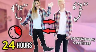 WEARING MY BOYFRIENDS CLOTHES FOR 24 HOURS!