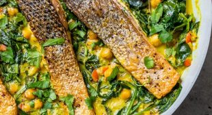 Salmon Coconut Curry with Spinach and Chickpeas