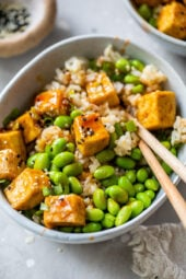 Spicy Sriracha Tofu Rice Bowls (Air Fryer or Oven)